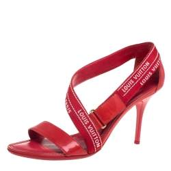 Louis Vuitton Red/ White Monogram Printed Fabric And Patent Leather Sandals Size 39