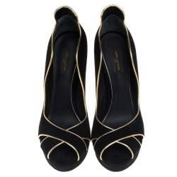 Louis Vuitton Black Suede Crisscross Peep Toe  Pumps Size 40