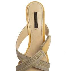 Louis Vuitton White Leather And Canvas Logo Strappy Mule Sandals Size 39.5