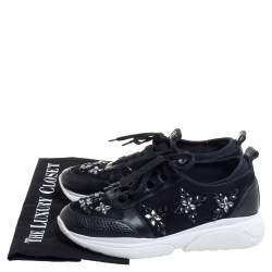 Louis Vuitton Black Leather And Suede Embellished Low Top Sneakers Size 36