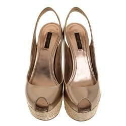 Louis Vuitton Brown Patent Leather Lagoon Wedge Slingback Espadrilles Size 38