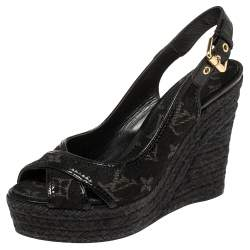 Louis Vuitton Black Monogram Denim And Patent leather Bastille Espadrille Wedge Sandals Size 37