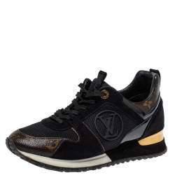 Louis Vuitton Black Mesh And Monogram Canvas Run Away Sneakers Size 38.5