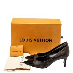 Louis Vuitton Brown Monogram Canvas And Patent Leather Cherie Pumps Size 39