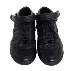 Louis Vuitton Black  Leather Vintage Velcro Strap Sneaker Size 38.5