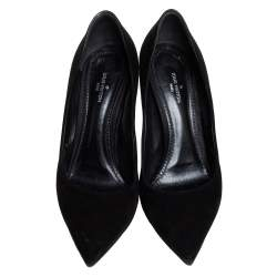 Louis Vuitton Black Suede Pointed Toe Slip On Pumps Size 36.5
