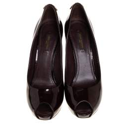 Louis Vuitton Dark Brown Patent Leather Oh Really! Peep Toe Platform Pumps Size 38