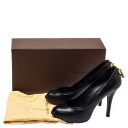 Louis Vuitton Black Leather Oh Really! Peep Toe Platform Pumps Size 36