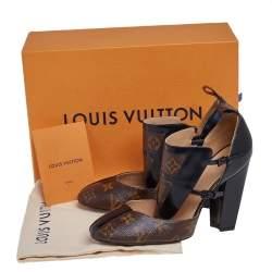 Louis Vuitton Brown/Black Monogram Canvas And Patent Leather Headline Pumps Size 37.5