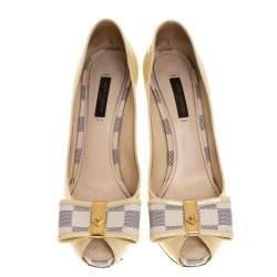 Louis Vuitton Cream Patent Leather and Damier Azur Canvas Damia Peep Toe Pumps Size 37.5