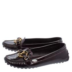 Louis Vuitton Burgundy Patent Leather Loafers Size 36