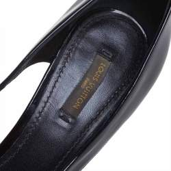 Louis Vuitton Black Patent Leather Lock Detail Cut Out Open Toe Platform Pumps Size 39