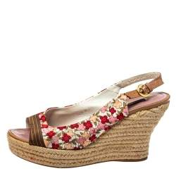 Louis Vuitton Floral Printed Silk Olivia Espadrille Wedge Slingback Sandals Size 39
