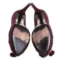 Louis Vuitton Burgundy Suede Leather Knot Confident Tassel Platform Pumps Size 36