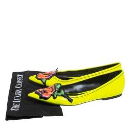 Louis Vuitton Yellow Leather Flower Embellished Pointed Ballet Flats Size 36.5