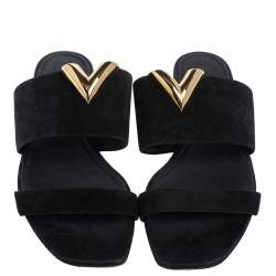 Louis Vuitton Black Suede V Cut Flat Slides Size 37