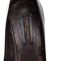 Louis Vuitton Damier Ebene and Patent Valentine Peep Toe Pumps Size 36.5