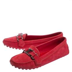 Louis Vuitton Red Suede Oxford Slip On Loafers Size 37