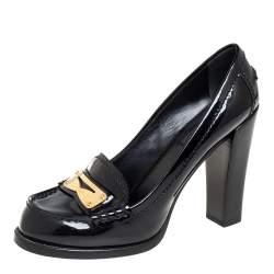 Louis Vuitton Black Patent Leather Loafer Pumps Size 37.5