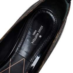 Louis Vuitton Brown/Black Monogram Canvas And Leather Mary Jane Pumps Size 38