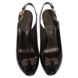 Louis Vuitton Brown Patent Leather Dice Peep Toe Slingback Sandals Size 38