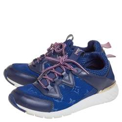 Louis Vuitton Blue Mesh And Leather Low Top Sneakers Size 36