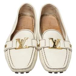 Louis Vuitton Off White Leather Monte Carlo Loafers Size 39