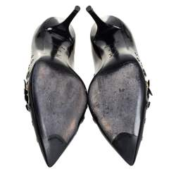 Louis Vuitton Black Patent Leather Applique Embellished Pointed Toe Pumps Size 39.5