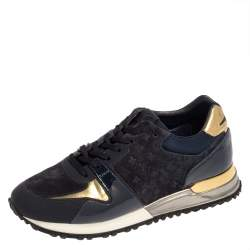 Louis Vuitton Dark Blue Suede, Patent And Fabric Run Away Low Top Sneakers Size 36