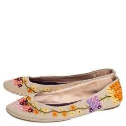 Louis Vuitton Multicolor Floral Embroidered Canvas Ballet Flats Size 41