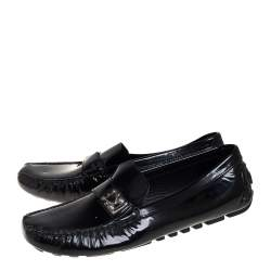 Louis Vuitton Black Patent Leather Lombok Slip On Loafers Size 40.5