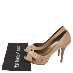 Louis Vuitton Brown Suede Crisscross Pumps Size 36
