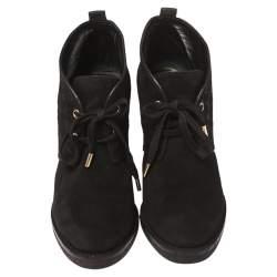 Louis Vuitton Black Suede Monogram  Ankle Boot Size 39