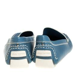 Louis Vuitton Blue Leather Lombok Slip On Loafers Size 41