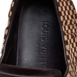 Louis Vuitton Brown Leather Pony Hair Slip On Sneaker Size 40.5