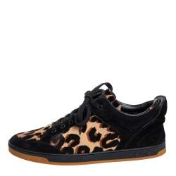 Louis Vuitton Black Suede And Leopard Print Calf Hair Low Top Sneakers Size 38.5