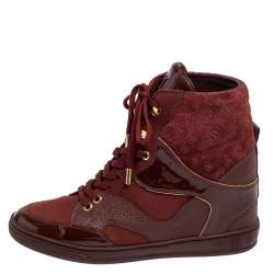 Louis Vuitton Burgundy Leather And Monogram Suede Wedge Sneakers Size 36.5