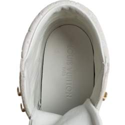 Louis Vuitton White Leather And Monogram Suede Millenium Wedge Sneakers Size 36.5