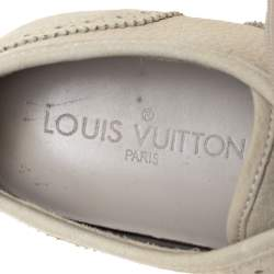Louis Vuitton Off White Nubuck Leather Lace Up Brogue Sneakers Size 37