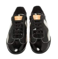 Louis Vuitton Black/Silver Patent Leather And Leather Low Top Lace Up Sneakers Size 39