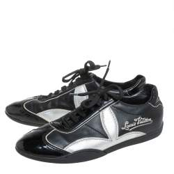 Louis Vuitton Vintage Black/Silver Patent Leather And Leather Low Top Sneakers Size 39