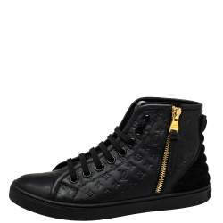 Louis Vuitton Black Monogram Embossed Leather Punchy High Top Sneakers Size 35.5