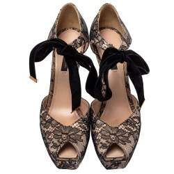 Louis Vuitton Pink/Black Lace And Velvet Can Can Peep-Toe Pumps Size 38