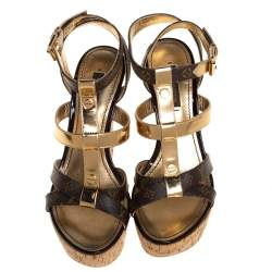 Louis Vuitton Brown/Gold Monogram Canvas and Leather Strappy Platform Wedge Sandals Size 35.5