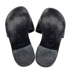 Louis Vuitton Black Leather Lockit Flat Slides Size 37