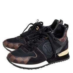 Louis Vuitton Black/Brown Monogram Canvas And Suede Run Away Line Sneakers Size 35.5