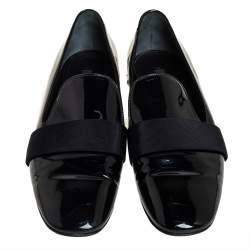 Louis Vuitton Black Patent Leather Smoking Slippers Size 37