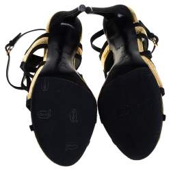 Louis Vuitton Gold and Black Python Embossed Leather And Suede Trim Cut Out Ankle Strap Sandals Size 39