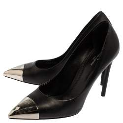 Louis Vuitton Black Leather Merry Go Round Metal Cap Pointed Toe Pumps Size 38