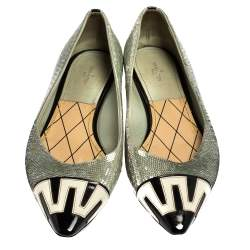 Louis Vuitton Grey Sequin Embellished Satin And Monochrome Patent Leather Ballet Flats Size 40
